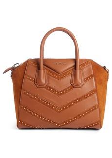 Givenchy Small Antigona Studded Chevron Suede & Leather Satchel
