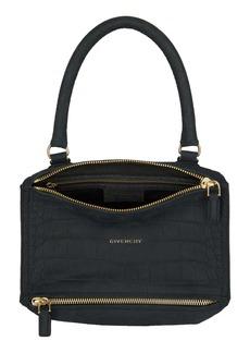Givenchy Small Pandora Croc Embossed Leather Shoulder Bag
