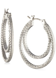 """Givenchy Small Pave Double-Row Hoop Earrings, 1"""""""