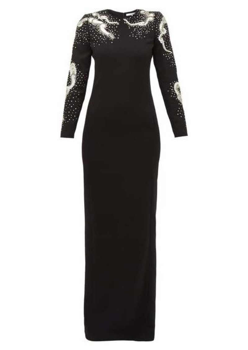 Givenchy Snake crystal and sequinned wool gown