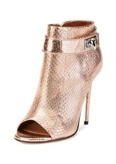 Givenchy Snakeskin Shark-Lock Open-Toe Bootie