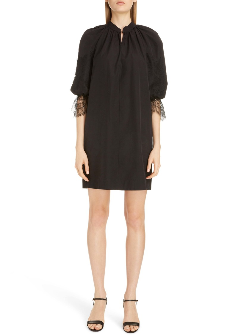 Givenchy Split Neck Lace Detail Poplin Shift Dress