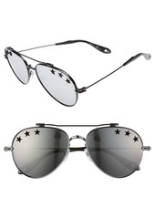 Givenchy Star Detail 58mm Mirrored Aviator Sunglasses