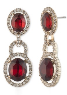 Givenchy Stone & Crystal Halo Double Drop Earrings