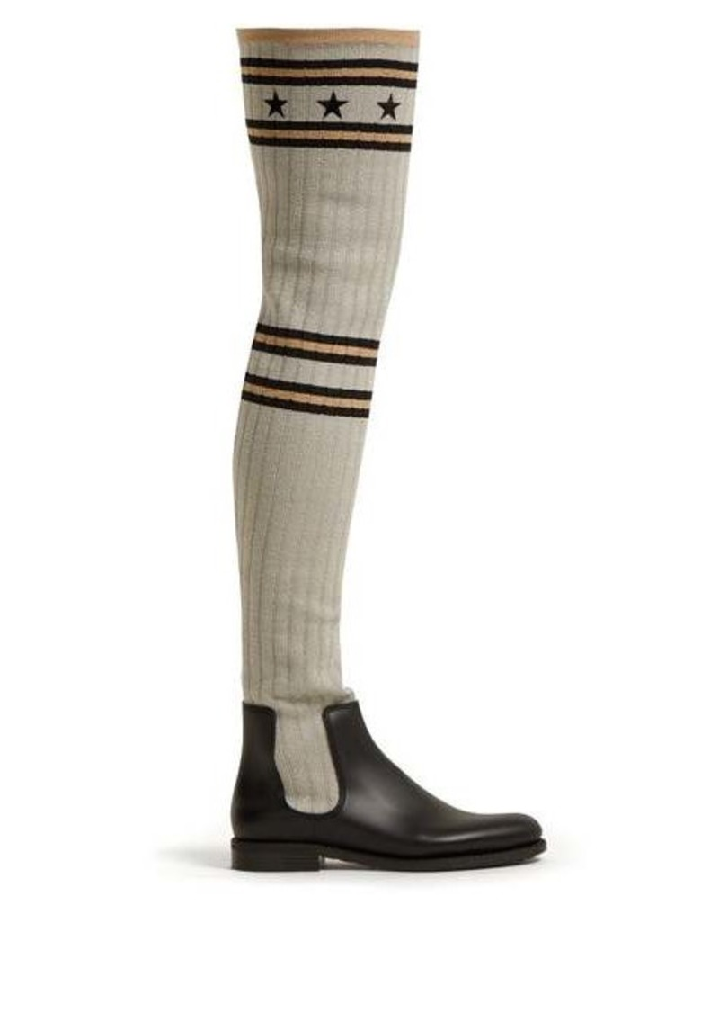 Givenchy Storm star-jacquard over-the-knee boots