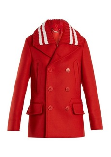 Givenchy Striped-collar double-breasted wool-blend coat