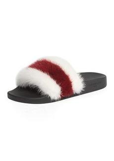 Givenchy Striped Mink Fur Pool Slide Sandal