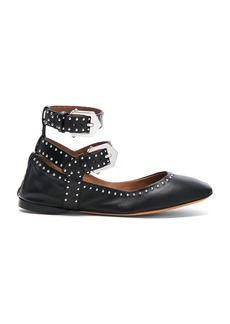 Givenchy Studded Ankle Strap Leather Ballerina Flats