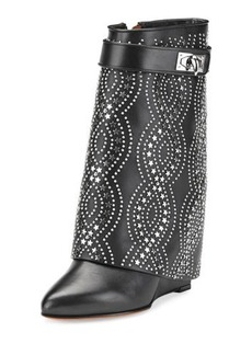 Givenchy Studded Shark-Lock Fold-Over Bootie