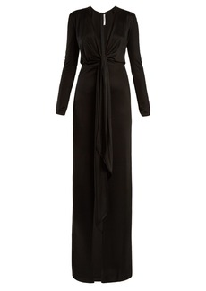Givenchy Tie-front deep V-neck jersey gown