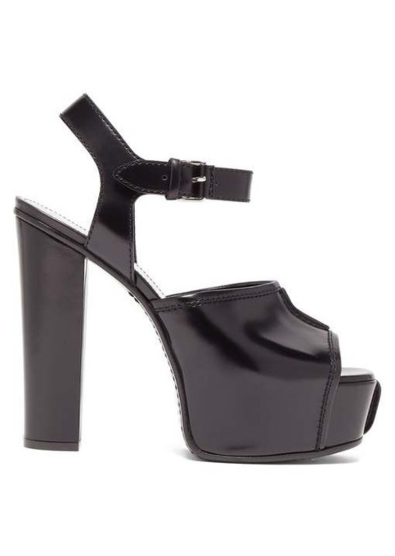 Givenchy Topstitched patent-leather platform sandals