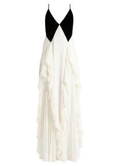Givenchy Velvet and crepe pleated gown