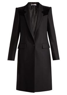 Givenchy Velvet-trimmed wool-blend coat