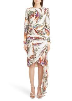 Givenchy Wave Pattern Asymmetrical Silk Marocain Dress