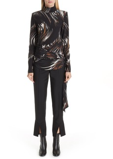 Givenchy Wave Pattern Belted Silk Top