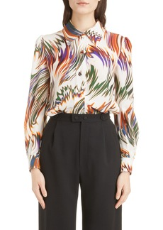 Givenchy Wave Pattern Silk Blouse