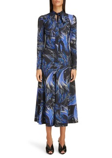 Givenchy Wave Print Jersey Fit & Flare Midi Dress