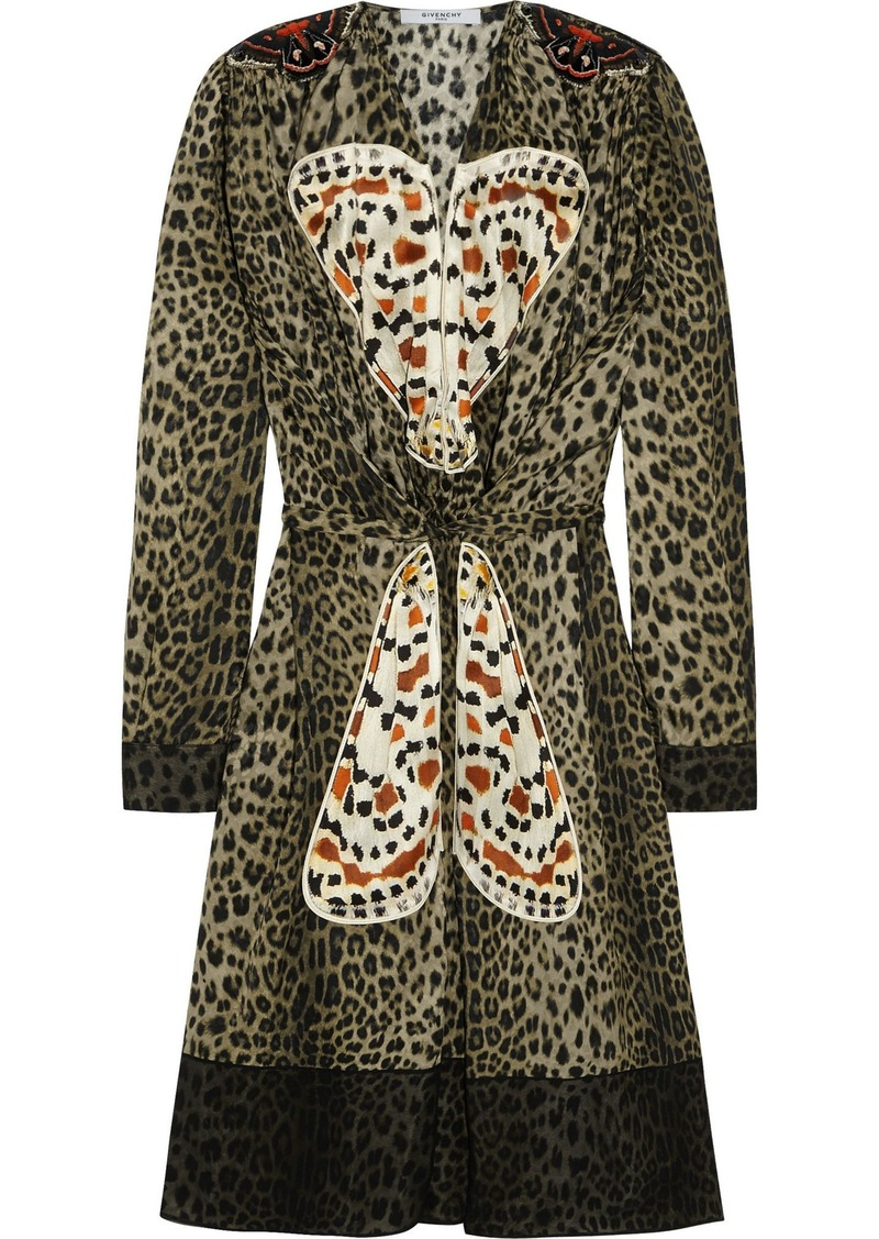 Givenchy Woman Appliquéd Leopard-print Silk Dress Animal Print
