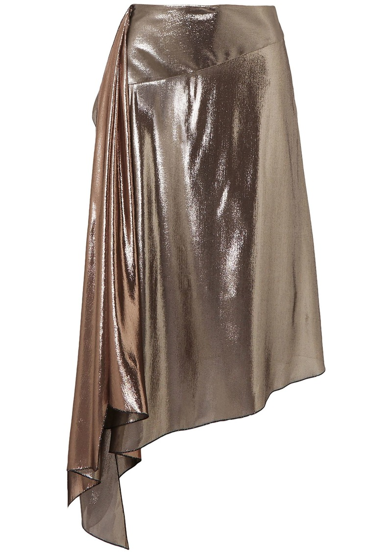 Givenchy Woman Asymmetric Draped Lamé Midi Skirt Bronze