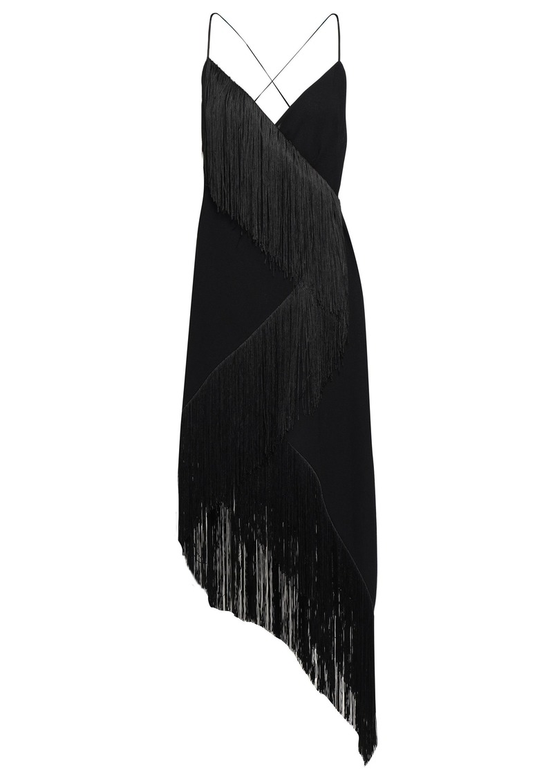Givenchy Woman Asymmetric Fringed Wool-crepe Wrap Dress Black