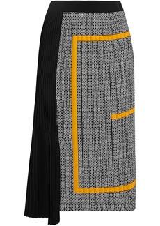 Givenchy Woman Asymmetric Pleated Printed Silk Crepe De Chine Midi Skirt Black