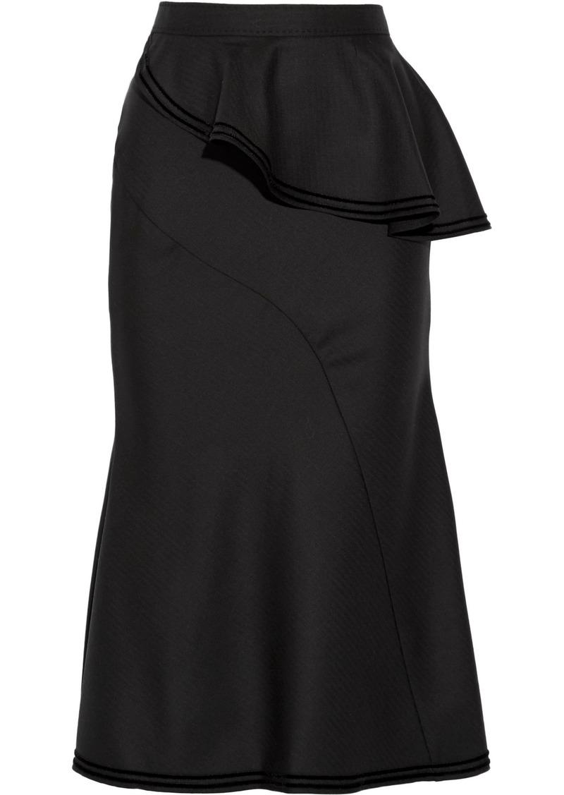 Givenchy Woman Asymmetric Velvet-trimmed Ruffled Wool Midi Skirt Black