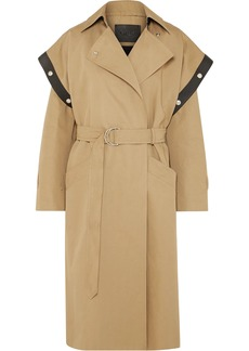 Givenchy Woman Belted Leather-trimmed Cotton And Linen-blend Trench Coat Sand
