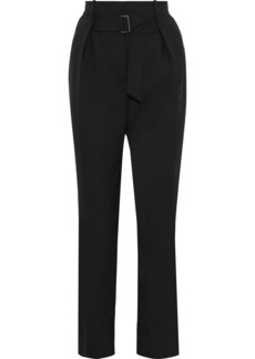 Givenchy Woman Belted Pleated Wool-cady Tapered Pants Black