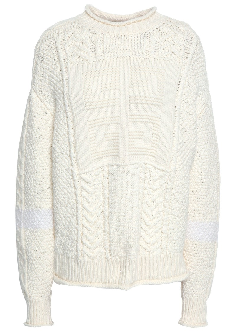 Givenchy Woman Cable-knit Wool And Camel-blend Sweater Ecru