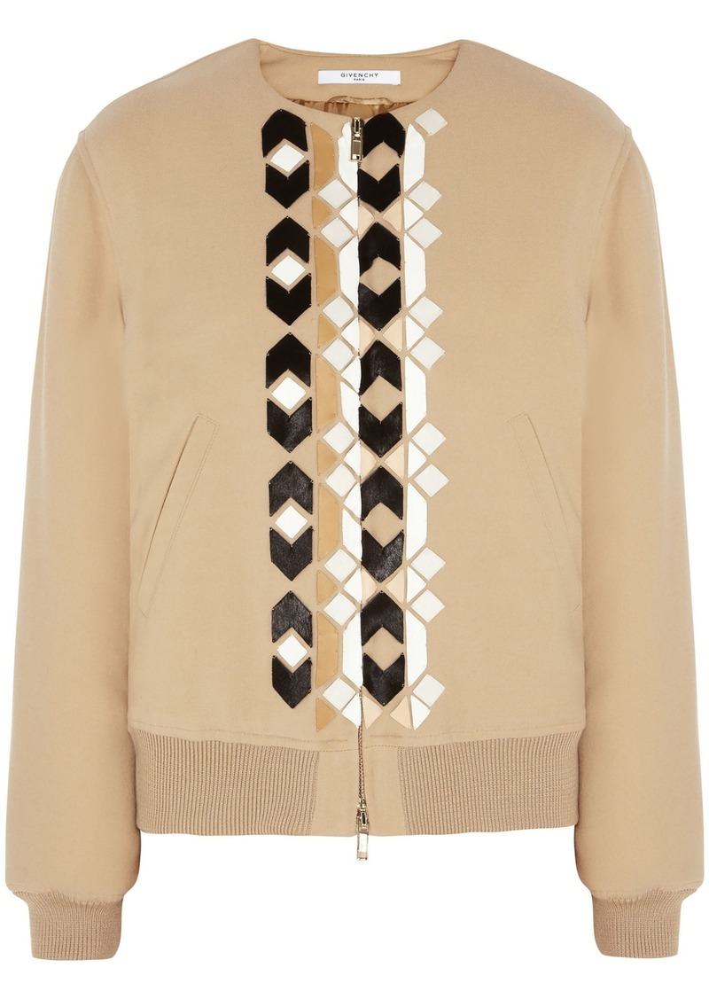 Givenchy Woman Calf Hair And Leather-appliquéd Wool-blend Bomber Jacket Beige