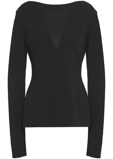 Givenchy Woman Chantilly Lace-paneled Stretch-knit Top Black