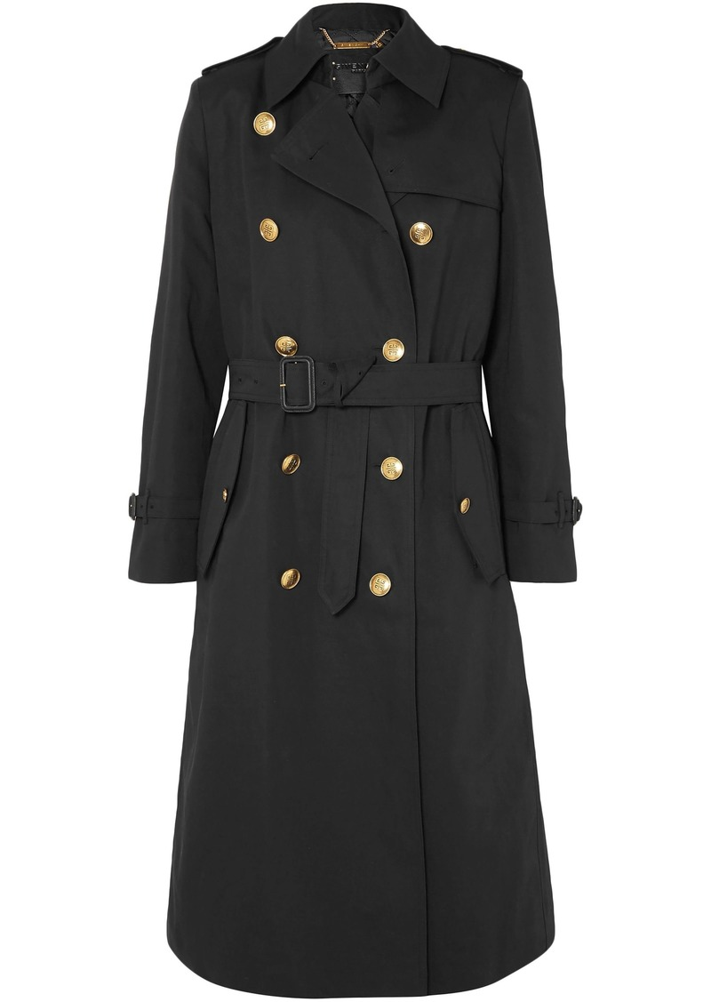 Givenchy Woman Cotton And Linen-blend Twill Trench Coat Black