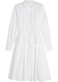 Givenchy Woman Cotton-poplin Peplum Shirt Dress White