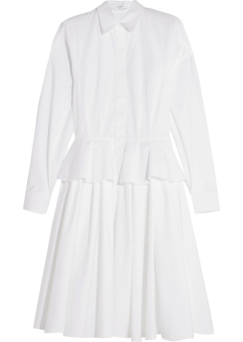 Givenchy Woman Cotton-poplin Peplum Shirt Dress White
