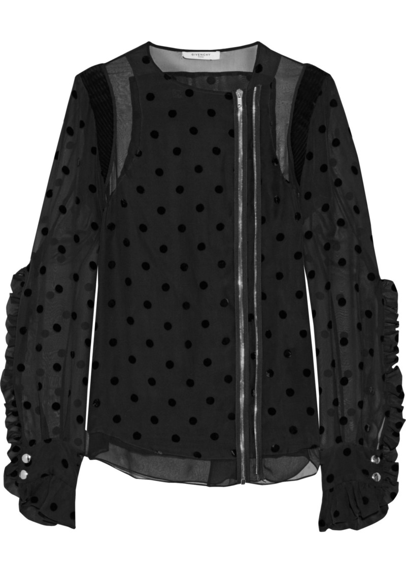 Givenchy Woman Crepe-paneled Ruffled Flocked Silk-blend Jacket Black