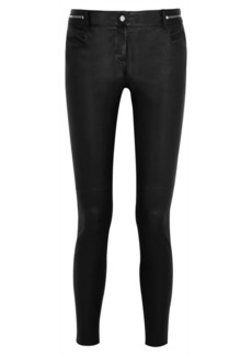 Givenchy Woman Cropped Leather Skinny Pants Black