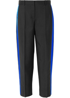 Givenchy Woman Satin-trimmed Grain De Poudre Mohair And Wool-blend Straight-leg Pants Black