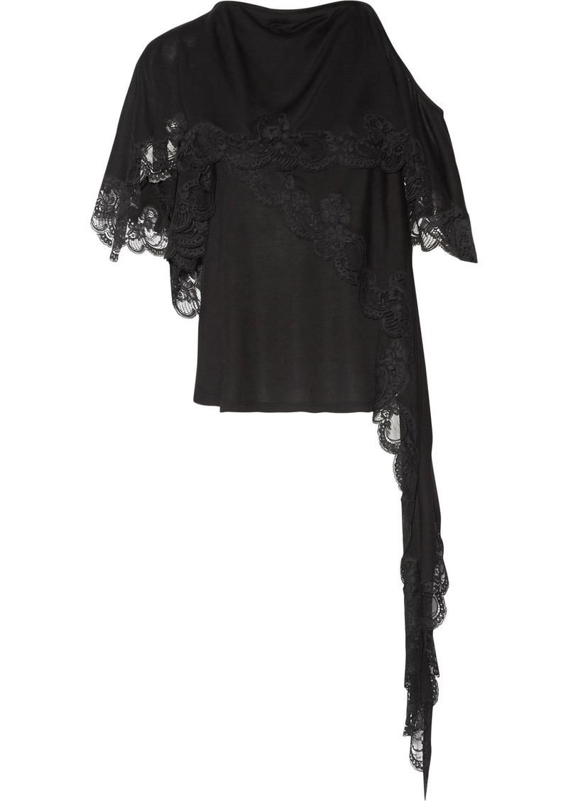 Givenchy Woman Cutout Layered Lace-trimmed Jersey Top Black