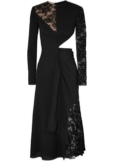 Givenchy Woman Cutout Paneled Wool-crepe Silk Crepe De Chine And Leavers Lace Midi Dress Black