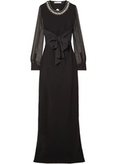 Givenchy Woman Embellished Silk-trimmed Stretch-cady Gown Black