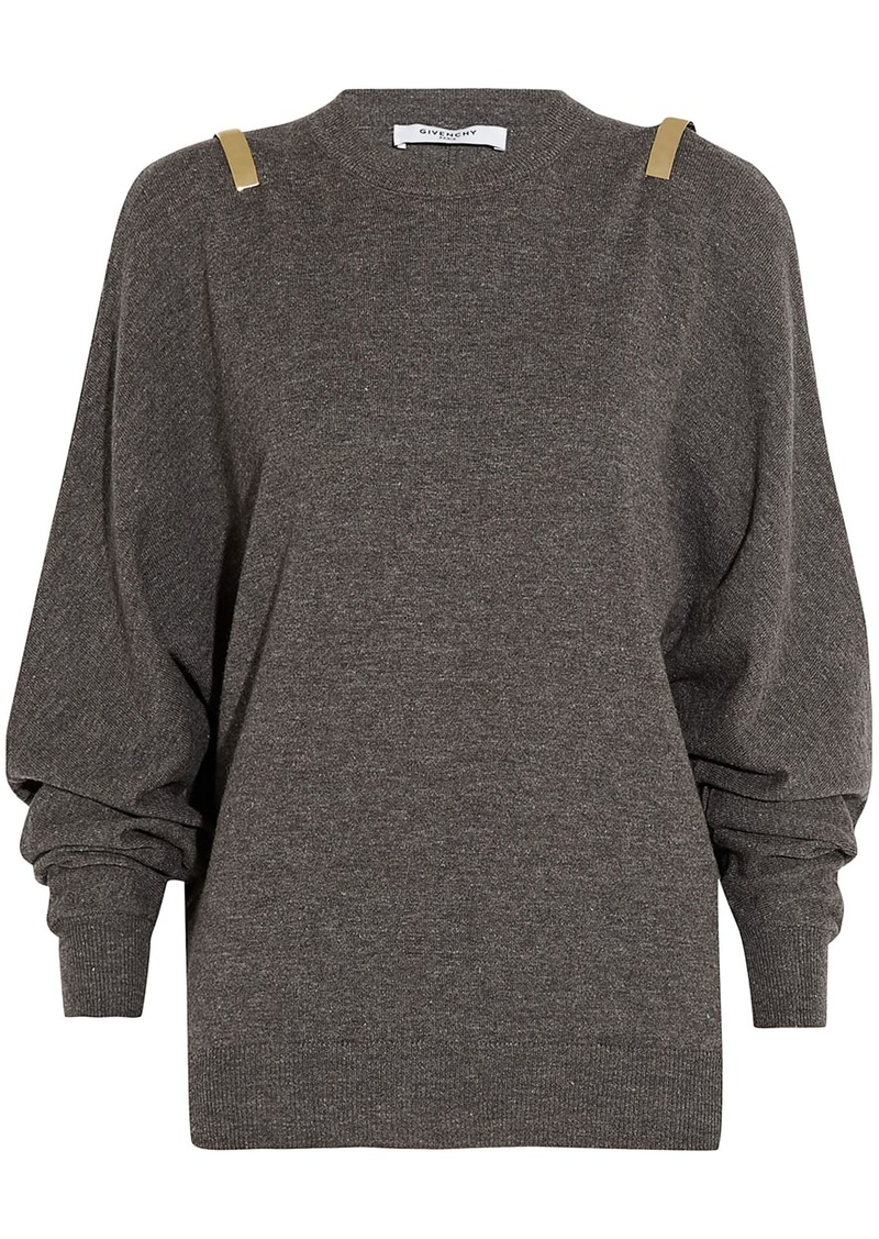 Givenchy Woman Embellished Wool Alpaca And Cotton-blend Sweater Anthracite