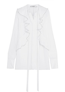 Givenchy Woman Faux Pearl-embellished Silk-chiffon Blouse White