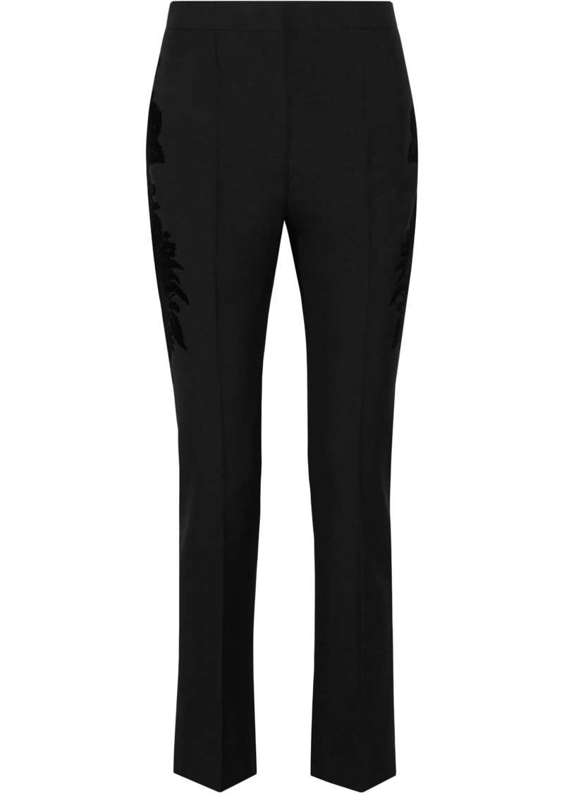Givenchy Woman Flocked Wool-twill Skinny Pants Black