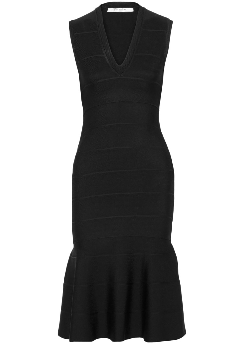 Givenchy Woman Fluted Stretch-knit Dress Black
