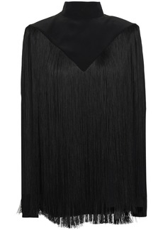 Givenchy Woman Fringed Silk-crepe Turtleneck Top Black