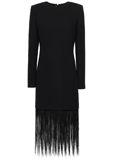 Givenchy Woman Fringed Wool-crepe Dress Black