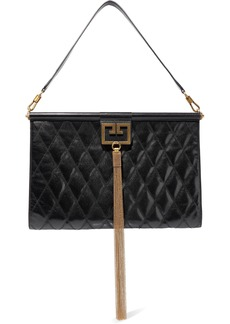 Givenchy Woman Gem Large Quilted Glossed-leather Shoulder Bag Black