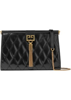 Givenchy Woman Gem Medium Quilted Glossed-leather Shoulder Bag Black