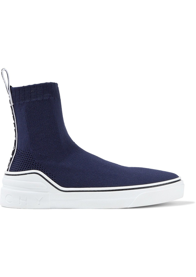 Givenchy Woman George V Stretch-knit Slip-on Sneakers Navy