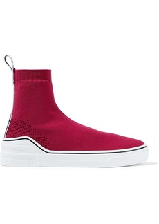Givenchy Woman George V Stretch-knit Slip-on Sneakers Crimson